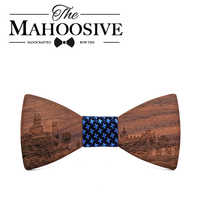 MAHOOSIVE Wooden bow tie Madrid skyline butterfly knot for men wedding banquet club party classic old shcool Gravatas Cravat