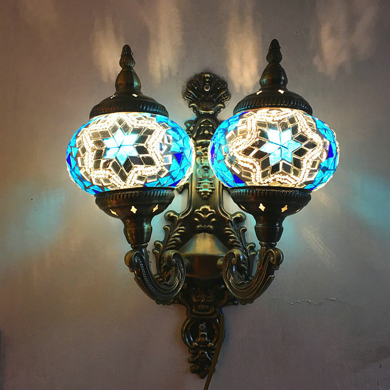 Artpad Mediterranean Style Decoration Stained Glass Double Lights LED Retro Vintage Turkish Mosaic Wall Lamps E12 For Hotel Home turkish mosaic lamps blue crystal glass led lights hand blown murano glass chandelier lighting