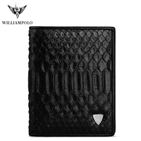 WilliamPOLO Men Wallet Short Genuine Leather Snakeskin Bifold Money Wallet Coin Case Holder Cash Pocket Python Skin Black 2018