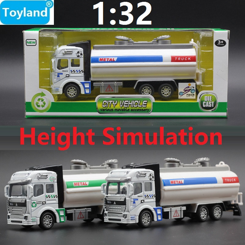 1:32 Alloy Sanitation Engineering Vehicle Simulation Garbage Truck Model Gift for Children Toys, with Rubbish Bin Free Shipping