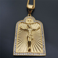 Hip Hop Iced Out Jesus Cross Pendant Necklace For Men Gold Color Stainless Steel Crucifix Necklace Male Jewelry