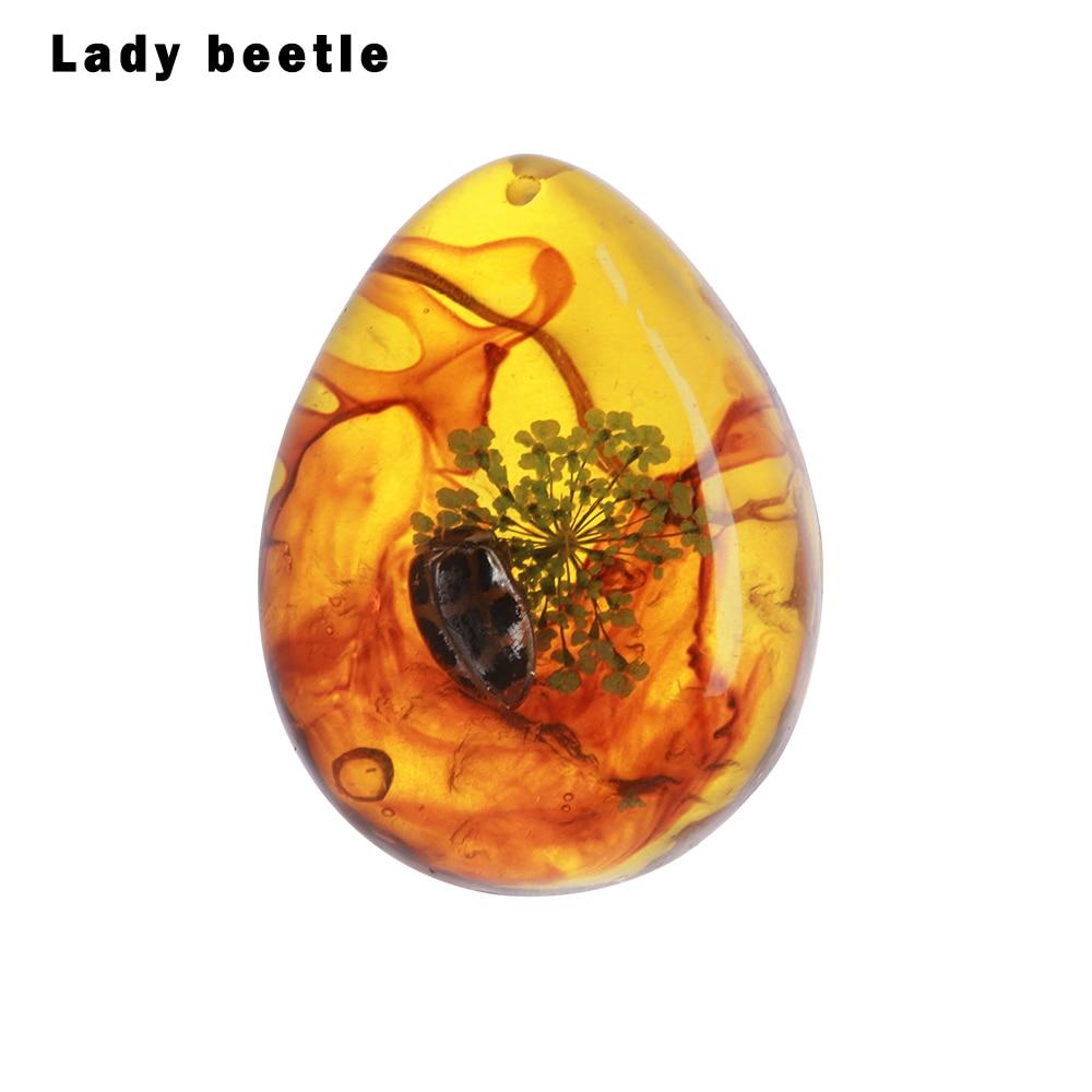 1 шт. модные натуральные насекомые Янтарный каменный орнамент оригинальность скорпионы бабочка пчела краб украшения DIY ремесла кулон подарок - Цвет: lady beetle