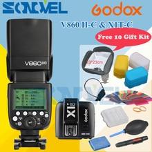 Godox V860II-C V860IIC Speedlite GN60 HSS 1/8000 s TTL Blitzlicht + X1T-C Wireless Flash Trigger Sender für Canon + Geschenk Kit