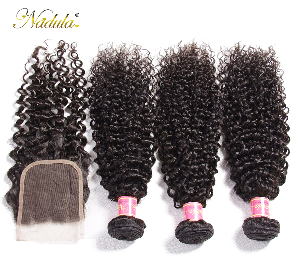 Nadula Hair Brazilian Curly Bundles With Closure 4*4 Lace Closure Remy Human Hair Bundles With Closure 3 Bundles With Closure