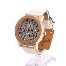 BOBOBIRD J05 Мягкий Белый Кожаный Ремешок Роскошные Женщины Смотреть Полный Красочный Кристалл Повседневная Кварцевые Часы relojes mujer женская Подарков OEM
