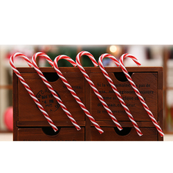 6Pcs/Lot Candy Crutch Pendant Christmas Tree Decor Hanging Ornament For New Year Xmas Party Striped Candy Cane Sticks Kids Gift 6