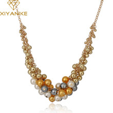 New Brand Big Temperament Popular Korea Retro Palace Beauty Simulated Pearl Necklace Women Choker Necklace XY-N69(China)