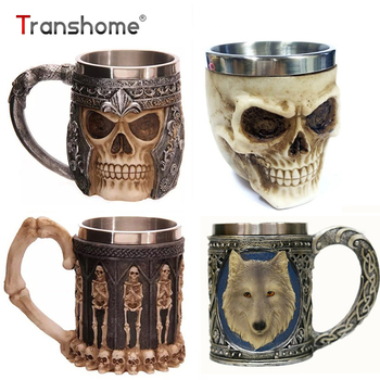 Trasnhome 3D Creative Skull Mug Double Wall Stainless Steel Tea Cup Milk Bottle Coffee Mug Skull Knight Tankard Drinking Mug
