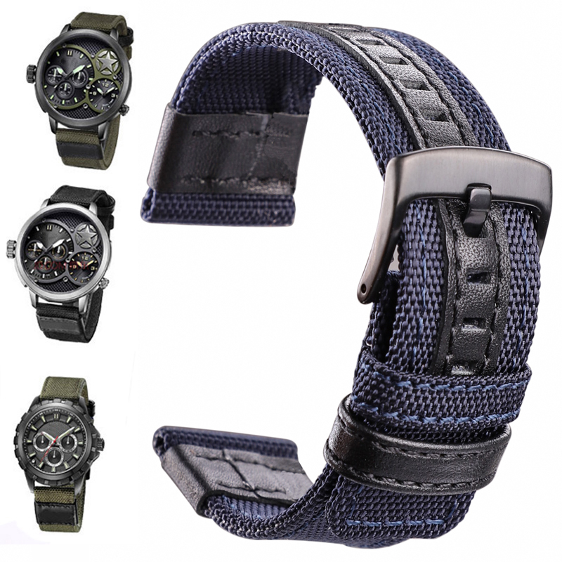 Nylon Watchbands Men Sport Nato Strap 20mm 22mm 24mm Black Green Coffee Watch Band Belt Stainless Steel Buckle Clasp Accessories