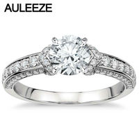 0 8CT Round Cathedral Cut Lab Grown Diamond Ring 14K White Gold Moissanites Wedding Anniversary Ring