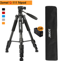 ZOMEI Q111 Professional Aluminum Alloy Camera Portable Travel Tripod Pan Head for Canon Nikon SLR Gift Strap & Phone Holder