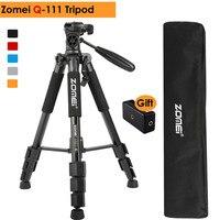 ZOMEI Q111 Professional Aluminum Alloy Camera Portable Travel Tripod Pan Head for Canon Nikon SLR Gift Strap & Phone Holder