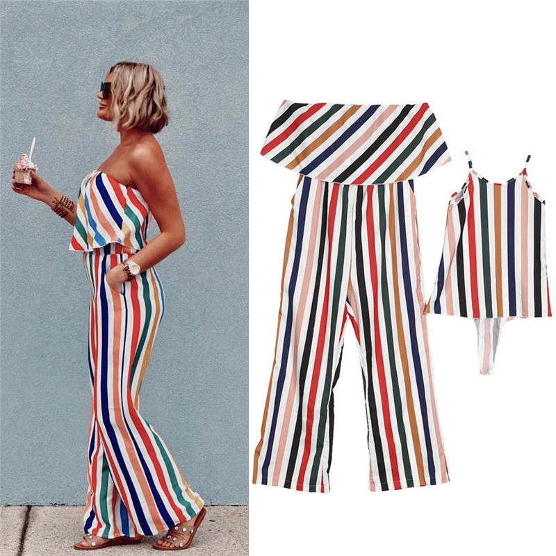 Fashion Family Matching Dresses Women Romper Mother and Daughter Matching Summer Baby Girl Dress Striped Bodysuits Clothes