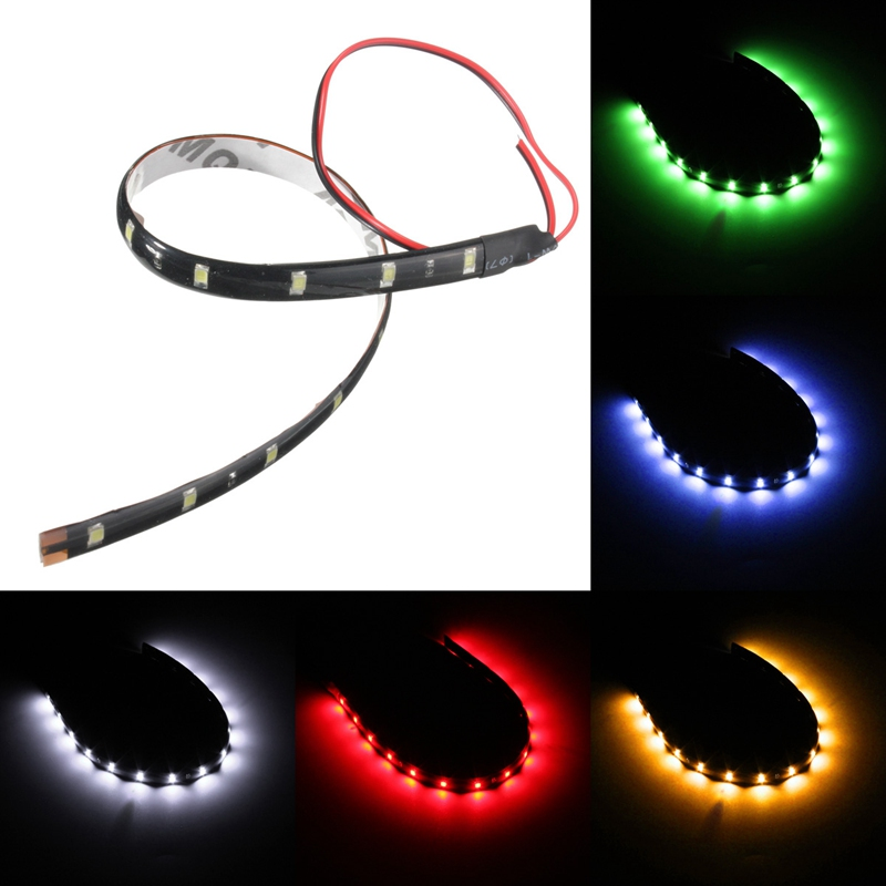 Super Bright 30CM 3528 SMD 15 LED Flexible Neon DIY Home Car Led Strip Light Waterproof DC 12V
