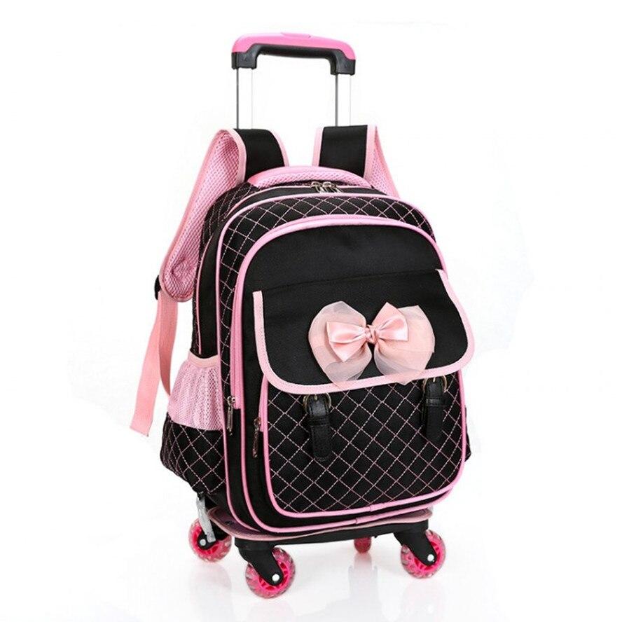 School bag with wheels singapore - New 4 Universal Wheels Children School Bags Trolley Waterproof Backpack Rolling Luggage Kids Detachable Orthopedic Travel