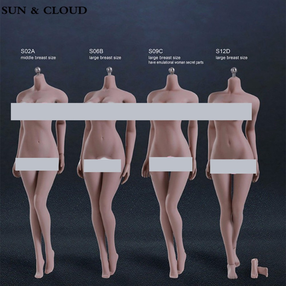 SUN & CLOUD 1/6 S02A S06B S09C S12D Scale Female Body Figure Super-Flexible Seamless Figure with Stainless Steel for PH Dolls 1 6 scale male action figure model toys super flexible seamless muscle body pl2016 m33 for collections