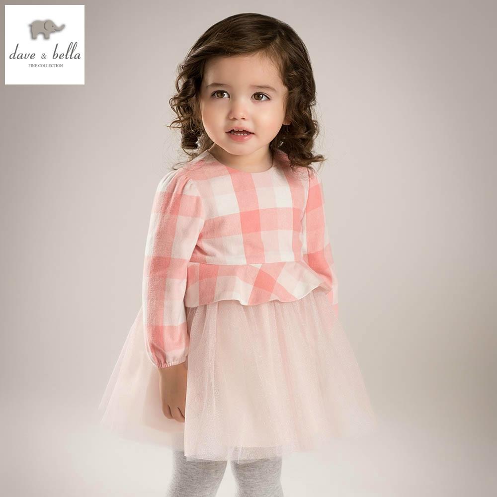 DB5197 davebella spring baby girl princess dress baby pink plaid dress kids birthday clothes dress girls