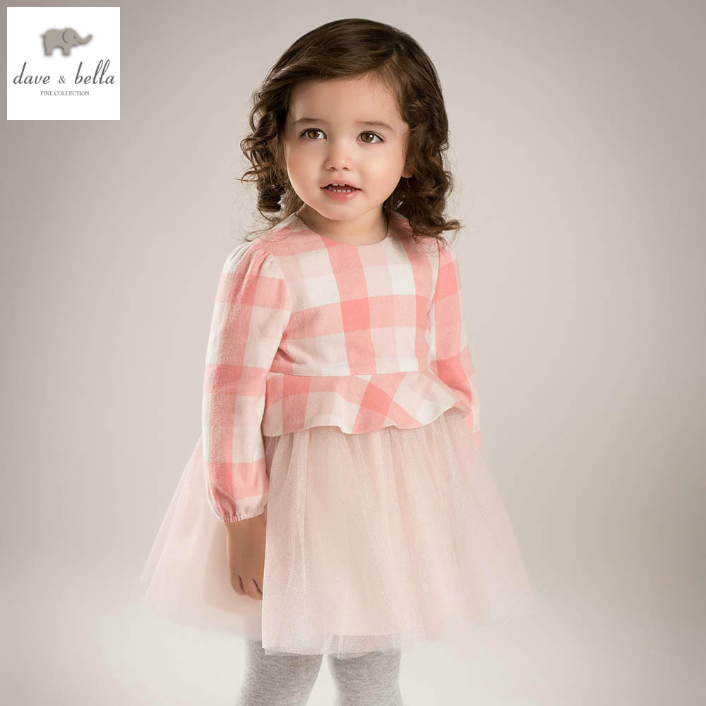 DB5197 davebella spring baby girl princess dress baby pink plaid dress kids birthday clothes dress girls lace dress scallop plaid cami dress