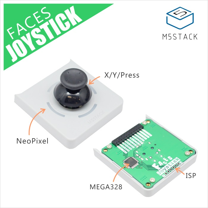 M5Stack NEW Joystick Panel For M5 FACE ESP32 Development Kit X/Y Axis & Press Button With NeoPixel LED Bar And MEGA328 Inside