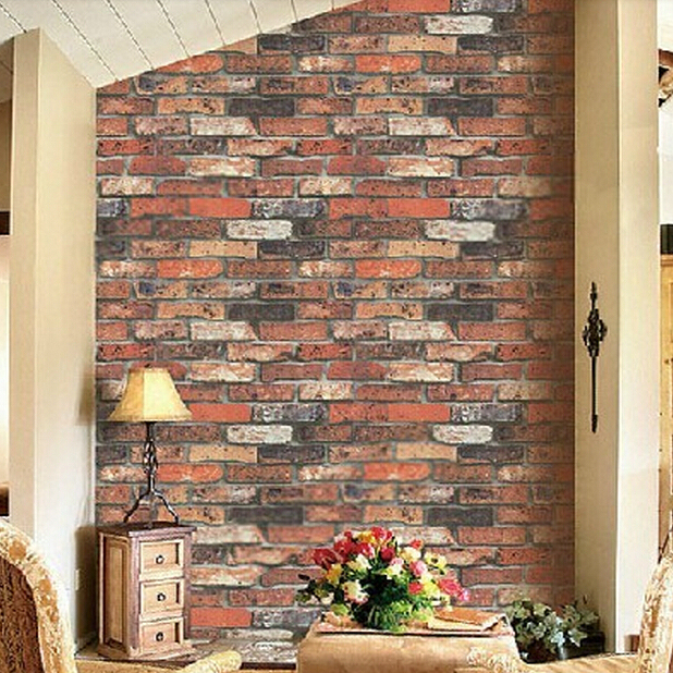 Vintage Natural Brick Wallpaper Effect Realistic Faux Shabby Red Wall Bathroom Hallway
