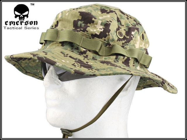 be07815c1db EMERSON Boonie Hat Woodland Marpat Military Tactical Army Hat Anti-scrape  Grid Fabric camouflage hat Hunting Cap free Shipping