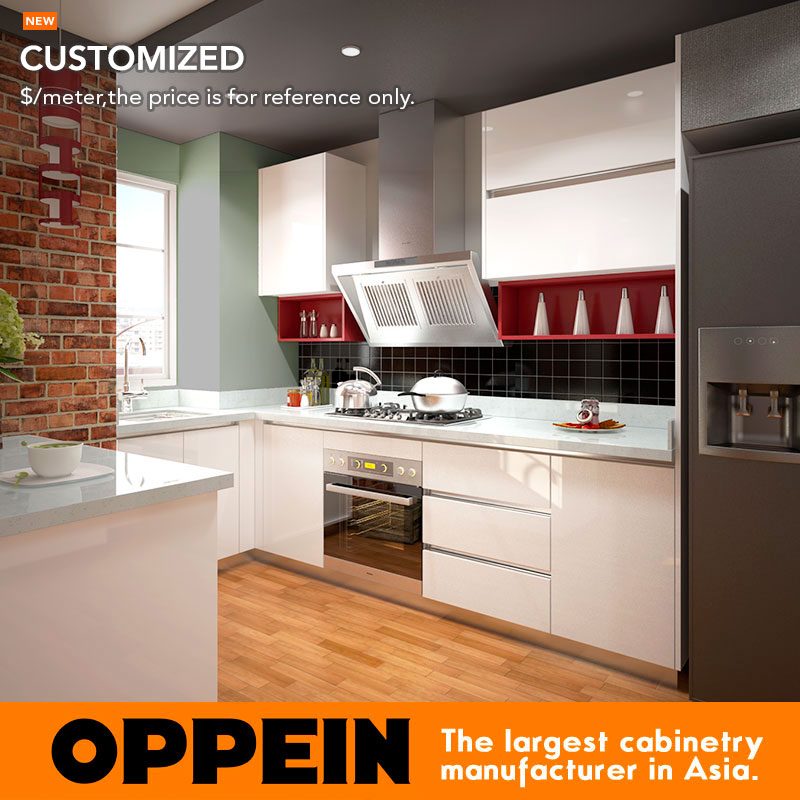 US $421.0 |Bangladesh Project Modern Style Lacquer White Kitchen Cabinet  OP15 L08-in Kitchen Cabinets from Home Improvement on AliExpress