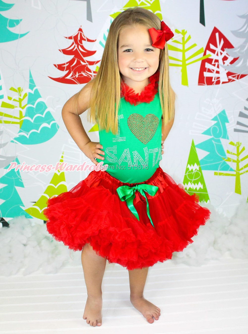 XMAS Rhinestone I LOVE SANTA Kelly Green Top Red Skirt Baby Girl Outfit Set 1-8Y MAPSA0080 st patrick s day green clover white top satin trimmed baby girl skirt set 1 8y mapsa0394