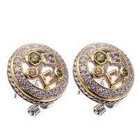 Amethyst Morganite Peridot Women Earrings 925 Sterling Silver Free Shipping Newest Fashion Jewelry Earrings TE468