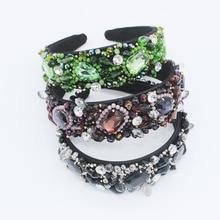 Baroque Jewel Headband Jewelled Head Band Women Elastic Hair Accessories Diamond Bridal Rhinestone Hairband Crystal Luxury 2019 цена в Москве и Питере