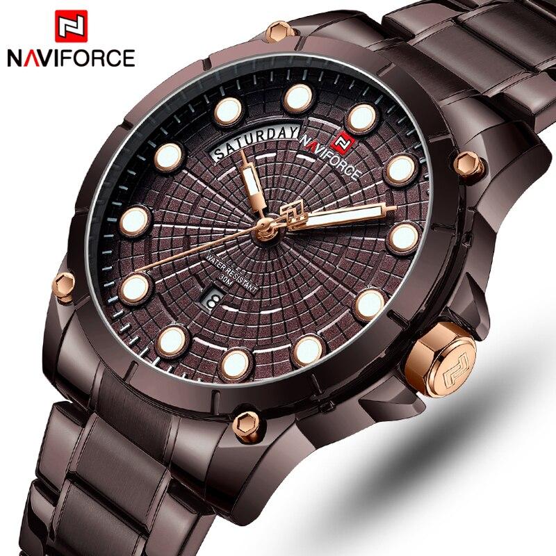 NAVIFORCE Top Luxury Brand Watches Men Fashion Full Stainless Steel Waterproof Quartz Clock Mens Wrist Watch Relogio Masculino