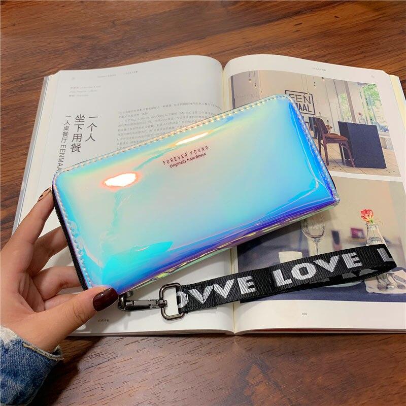 Women Wallets Lanyard Laser Holographic Wallet Women Long Purse Female Clutch Bag Portfel Zip Phone Pocket Card Holder Carteras