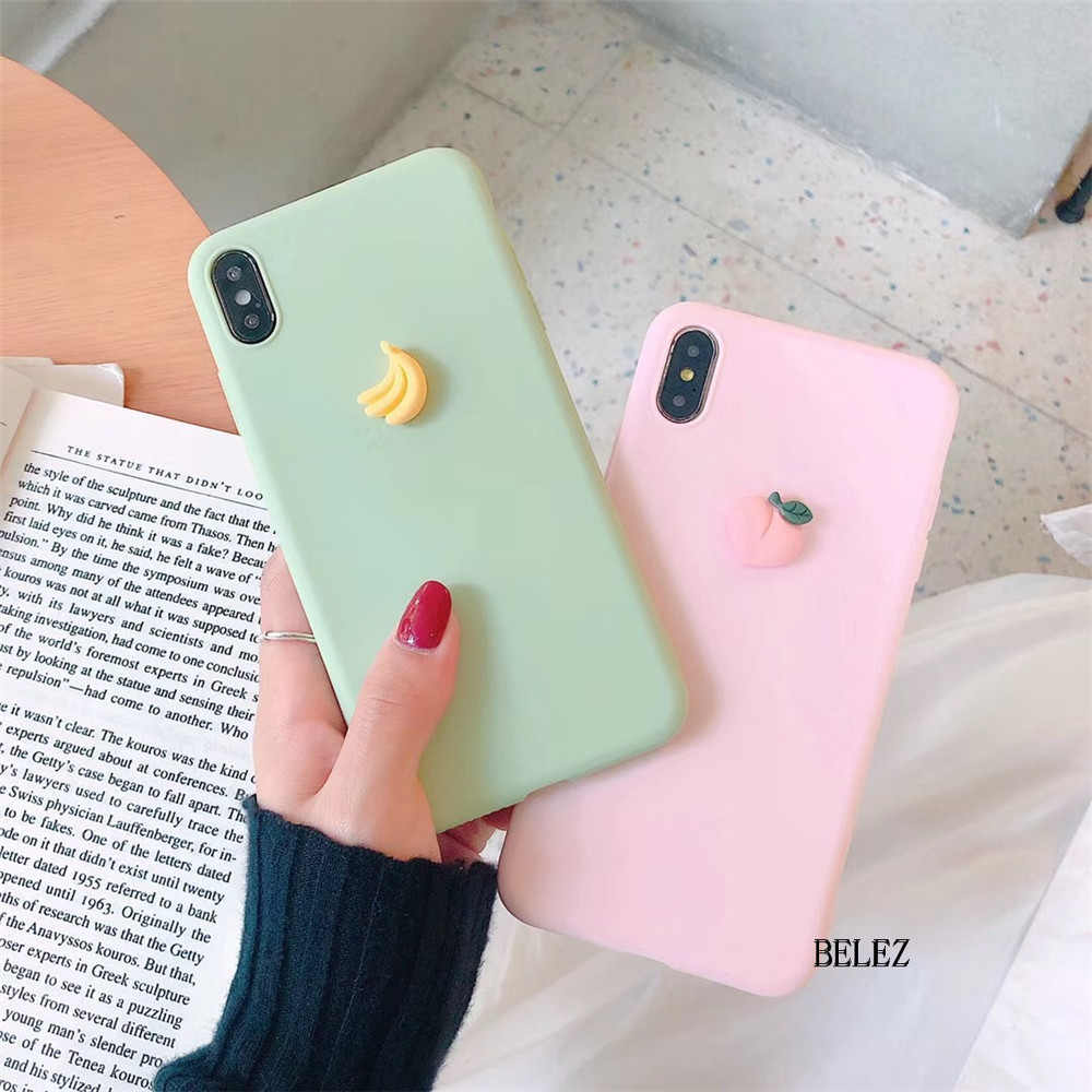 3D Fruit Banana Peach Grape Candy Soft Silicone Case For Samsung Galaxy S10 S9 S8 Plus S7 Note 9 A10 A50 A750 M10 M30 Cute Cover