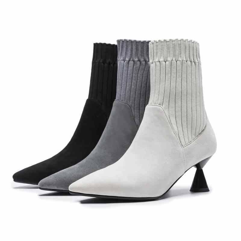 Smirnova חמה 2018 אופנה ילד זמש עור + למתוח בד קרסול מגפי נשים הבוהן מחודדת דק העקב גבוה מגפיים מקרית מסיבת נעליים