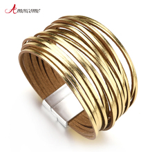 Amorcome Gold & Silver Color Leather Bracelets For Women