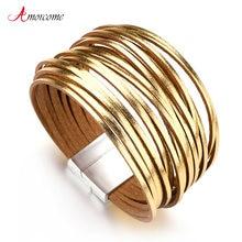 Amorcome золотистого и серебристого цветов; Цвет кожаные браслеты