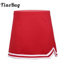 TiaoBug/юбка трапециевидной формы для девочек-подростков, эластичная резинка на талии, боковая молния, школьная форма болельщика, юбка с