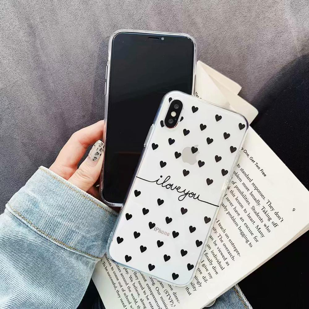 KIPX1078_2_JONSNOW Clear Case For iPhone 6 6S 7 8 Plus XS XR XS Max Black White Heart Pattern Soft Silicone Protect Back Cover Capa Fundas
