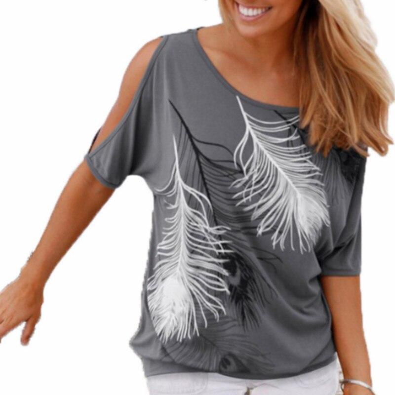 Летние Для женщин с принтом перьев футболки с круглым вырезом Рубашки без бретелек с открытыми плечами Короткие-Футболка с рукавами свобод...