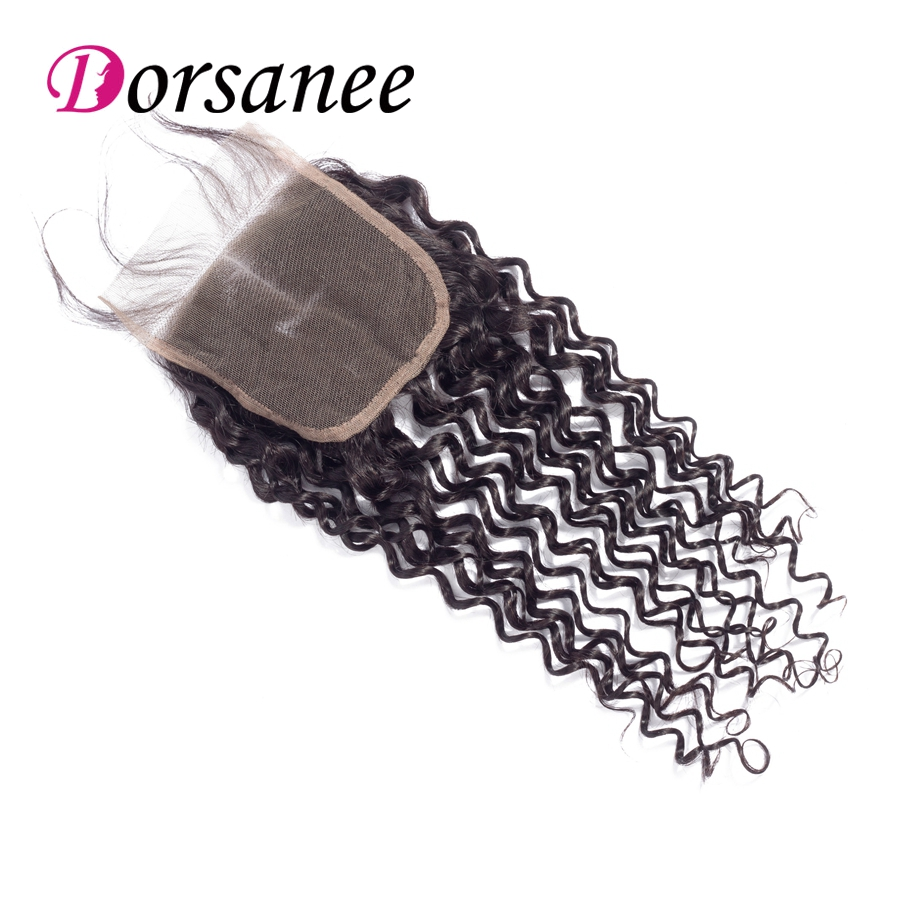 Dorsanee Free Part Lace Closure Indian Kinky Curly Human Hair Swiss Lace Natural Black Color 4x4 Top Closure Non Remy Hair Free