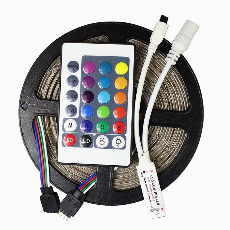 IP65 Waterproof 2835 SMD RGB LED Strip Light 60LEDs/m 5M RGB Flexible Light LED Ribbon Tape Lamp 12V 24key Remote Controller
