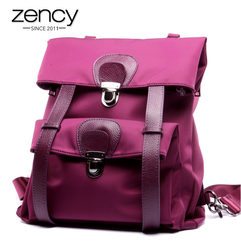 Fashion Casual Large Genuine Leather Nylon Women Bakcpack Ladies Backpacks for Teenage Girls School Bag Supplies