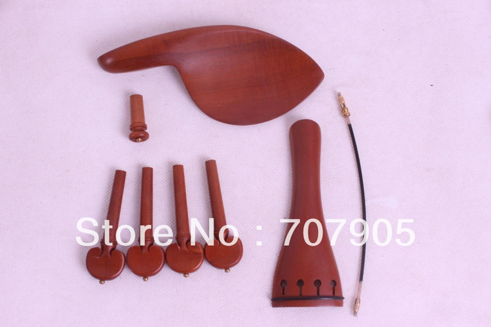 New 3 Set 4/4 Violin Jujube Parts, Tailpiece Chinrest Endpin Peg Tail Gut  #E19
