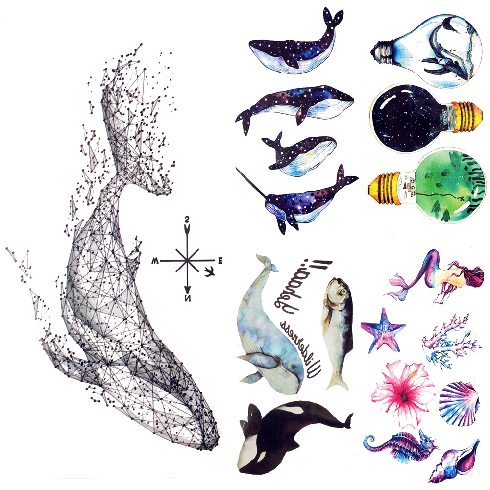 Cute Geometry Whale Tattoo Stickers Dolphin Water Transfer Fish Tattoo Guide Ocean Women Face Temporary Tattoo Men Body Arm Art