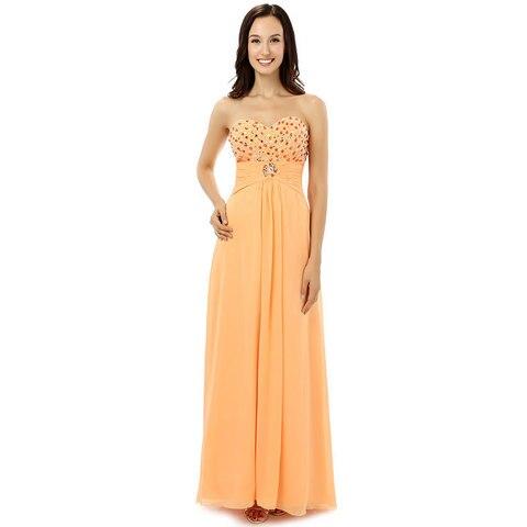 Yellow Chiffon Evening Dresses Long Pleated Crystal Evenging Dress Sexy Beaded Sweetheart Robe De Soiree Mingli Tengda 2017 New Pakistan