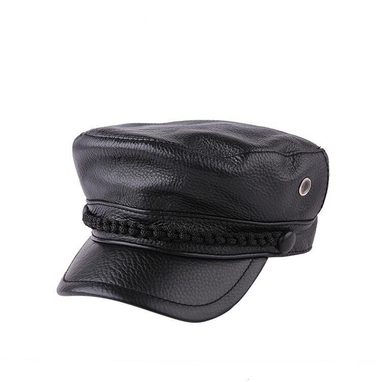 Xongkoro Ladys Full Grain Cow Leather Military Cap Boys Girls Superior Cowhide Navy Hat Women Old Fashion Army Hats Black Brown