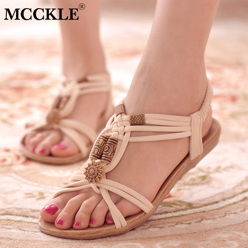 MCCKLE Women Summer Casual Bohemia Sandals Flat Female Elastic Band String Bead Back Strap Shoes For Girls Ladies Footwear