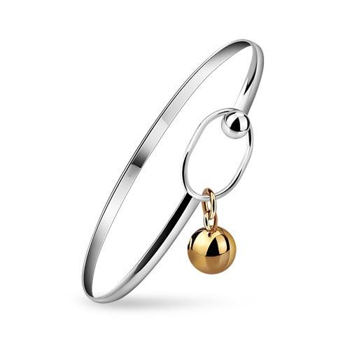 Fashion silver women bracelet.simple 100% solid 925 silver bracelet for girl.Golden ball pendant bracelet.Charming lady jewelry