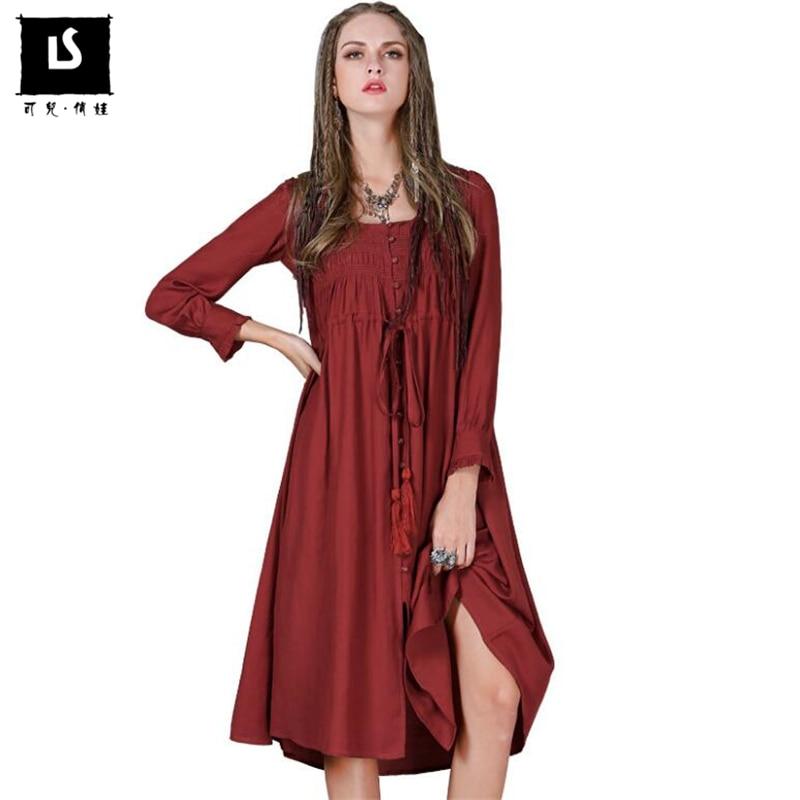 Spring Autumn Vintage Women Dress Cotton Linen vogue Dress Black and Wine Red Long sleeved Drawstring