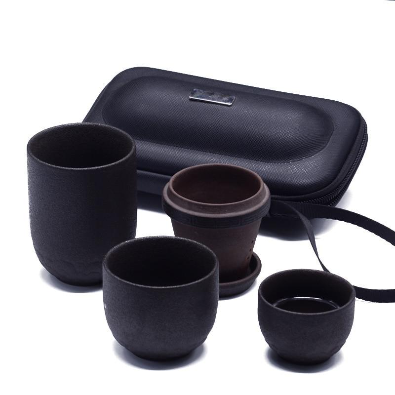 Ensemble de tasse concentrique en grès simple avec filtre voyage en plein air fournitures de thé de voiture facile à transporter comme cadeau à offrir à des amis