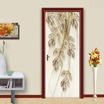 3D Goldene Blätter Europäischen Stil Wohnzimmer Tür Aufkleber Wand Papers Home Decor PVC Wasserdicht Self-adhesive Tür Wandbild Aufkleber